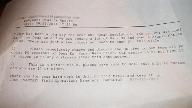 Gamestop Deus Ex Letter