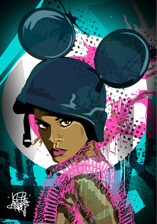 "Doughty's Rihanna vector illustration was inspired by the video for the song ""Hard"""