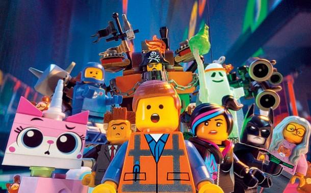 The Lego Movie (2014) (clockwise: l to r) UniKitty (ALISON BRIE), Benny (CHARLIE DAY), Metal Beard (Nick Offerman), Vitruvius (MORGAN FREEMAN), Batman (WILL ARNETT),  Wyldstyle (ELIZABETH BANKS), Emmet (CHRIS PRATT) and President Business (Will Ferrell)