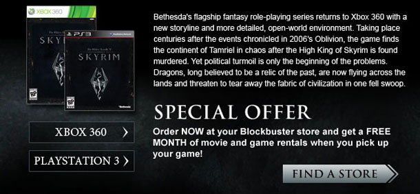 Blockbuster Elder Scrolls V: Skyrim Promotion