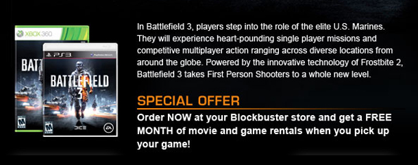 Order Blockbuster 3 at Blockbuster and get a free month of movie & game rentals!