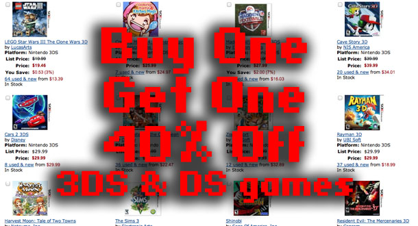 Buy One Get One 40% Off 3DS and DS games