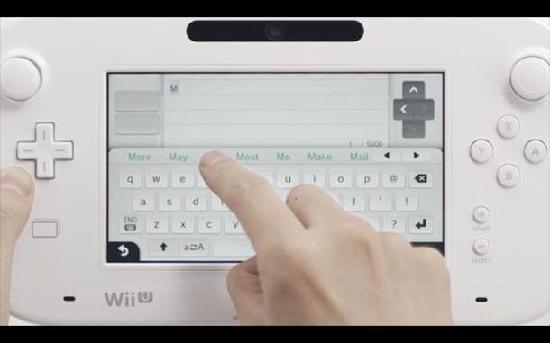 Typing on the Wii U Gamepad