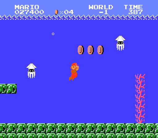 The infamous Minus World in Super Mario Bros
