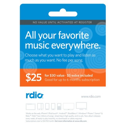 Rdio $30 Gift Certificate for $25