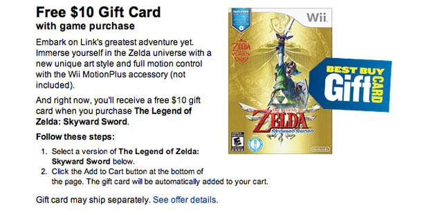 Get a free $10 gift card with The Legend of Zelda Skyward Sword